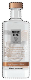 ABSOLUT COUNTRY OF SWEDEN ELYX ALWAYS PRODUCED & BOTTLED IN AHUS SWEDEN THE SILKY TEXTURE AND ELEGANT TASTE OF THIS OUTSTANDING VODKA IS THE RESULT OF SWEDISH CRAFTSMANSHIP HAND SELECTED GRAINS AND IDEAL AMOUNTS OF COPPER FOR CATALYZATION IN DISTILLATION. ABSOLUT ELYX IS MADE IN LIMITED QUANTITIES IN OUR AUTHENTIC COPPER DISTILLERY DATING FROM 1929. COPPER CATALYZATION PERFECTED IMPORTED SWEDISH VODKA